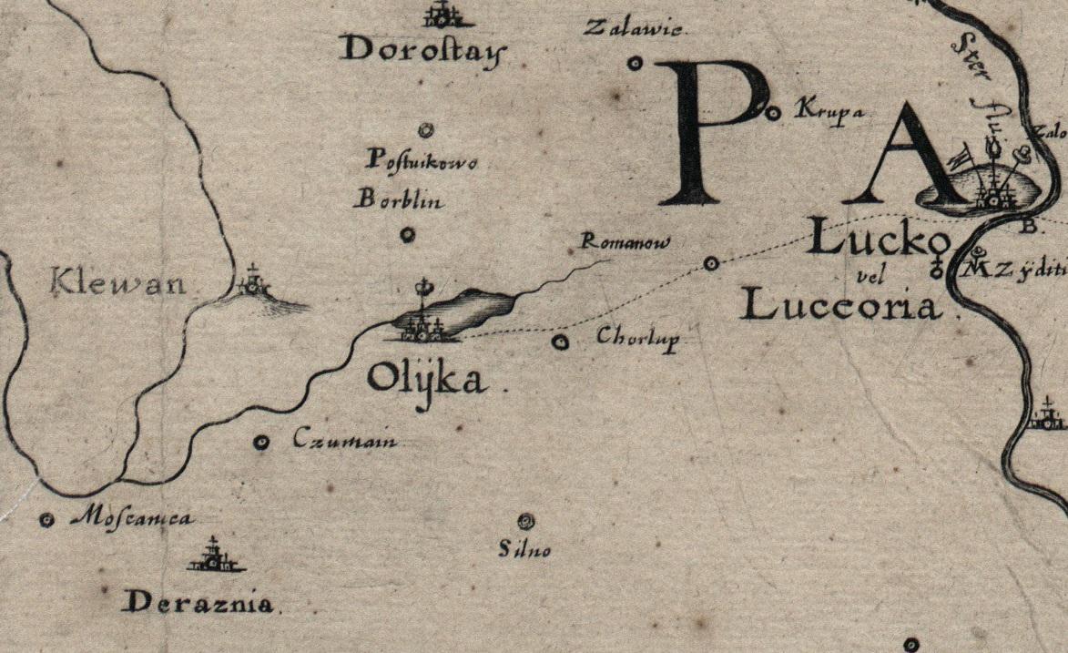 Олика. Фрагмент мапи французького інженера Гійома де Боплана, 1650 р.