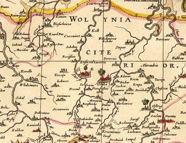 Олика. Фрагмент мапи Великого князівства Литовського, 1613 р.