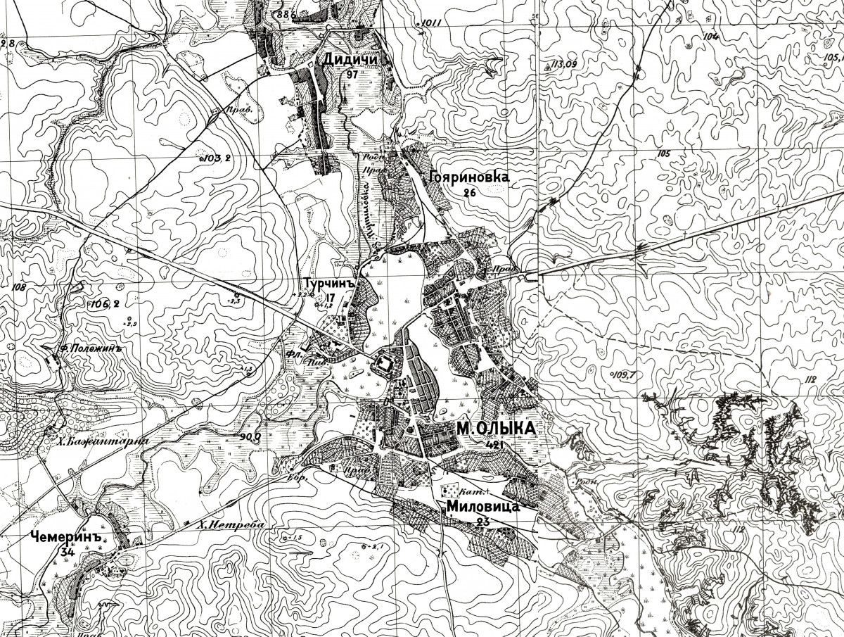 Олика. Фрагмент топографічної мапи, початок XX ст.